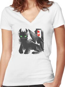 Night Fury Women's Fitted V-Neck T-Shirt