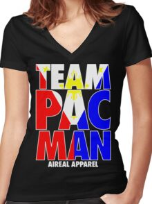 TEAM PACMAN PACQUIAO BY AIREAL APPAREL Women's Fitted V-Neck T-Shirt