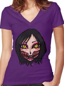 Mortal Kombat x  - Chibi Mileena Face Women's Fitted V-Neck T-Shirt