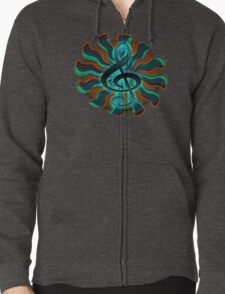 Psychedelic Treble Clef / G Clef Music Symbol Zipped Hoodie