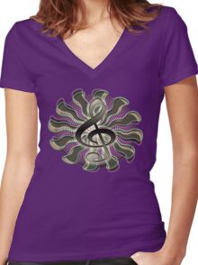 Retro Treble Clef / G Clef Music Symbol Women's Fitted V-Neck T-Shirt
