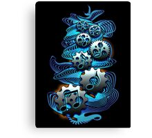 Music Engineer - Music Notes & Gears (blue) Canvas Print