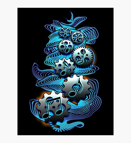 Music Engineer - Music Notes & Gears (blue) Photographic Print