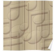 Beige Music Notes Poster