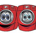 Red Front Load Washer Dryer Cartoon by Graphxpro