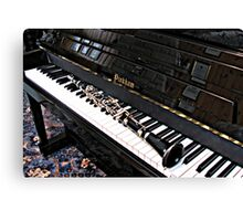 Black Beauty - Clarinet on Piano Keyboard Canvas Print