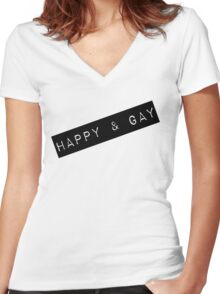 Happy & Gay Label Women's Fitted V-Neck T-Shirt