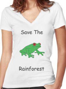 Save The Rainforest Women's Fitted V-Neck T-Shirt