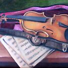 Violin in Case by sally seabright