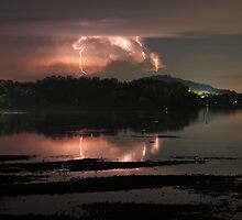 Lightning over Lake Macquarie by Steve D