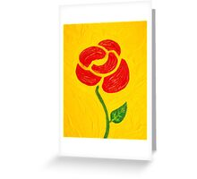 Simple Red Rose on Yellow by Holly Cannell Greeting Card