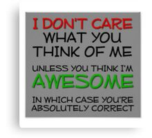 I don't care what you think Canvas Print