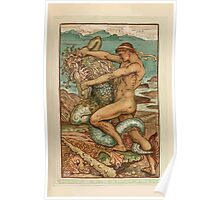 A Wonder Book for Girls and Boys by Nathaniel Hawthorne illustrated by Walter Crane 163 - Hercykes and the Old Man of the Sea Poster