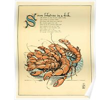 The Buckle My Shoe Picture Book by Walter Crane 1910 49 - Seven Lobsters in a Dish Poster