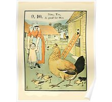 The Buckle My Shoe Picture Book by Walter Crane 1910 20 - Nine Ten A Goad Fat Hen Poster