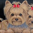 Three PRETTY Yorkies Yorkie Yorkshire Terrier Dog by class-act-art