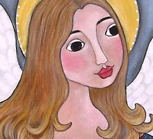 PRIMITIVE ANGEL Folk Art GIRL  by class-act-art