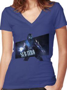 Mortal Kombat - Sub-Zero Women's Fitted V-Neck T-Shirt