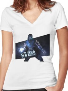 Mortal Kombat - Sub-Zero Women's Fitted V-Neck T-Shirt