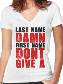 Last Name Damn Women's Fitted V-Neck T-Shirt
