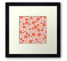 Freehand spots in peach and white Framed Print