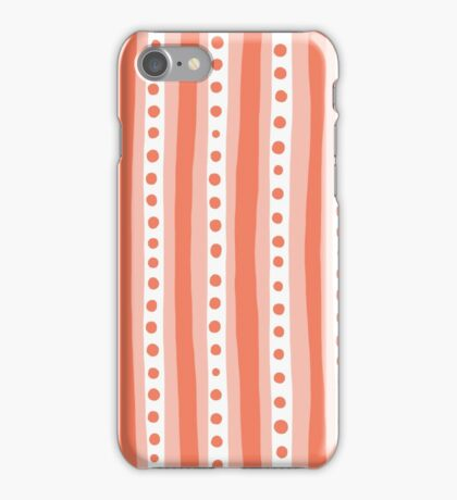 Freehand stripes in peach and white iPhone Case/Skin