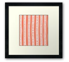 Freehand stripes in peach and white Framed Print