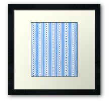 Freehand stripes in blues and white Framed Print
