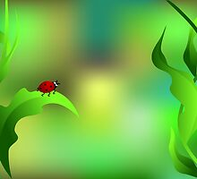 Ladybug sitting on a green leaf by ativka
