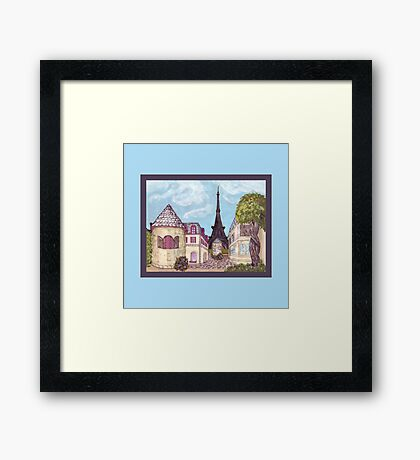 Paris Eiffel Tower inspired impressionist landscape by Kristie Hubler Framed Print