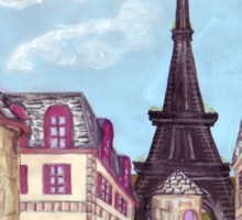 Paris Eiffel Tower inspired impressionist landscape by Kristie Hubler Sticker