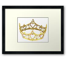 Queen of Hearts gold crown tiara by Kristie Hubler Framed Print