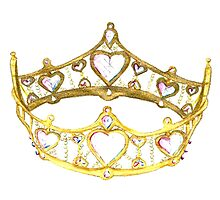 Queen of Hearts gold crown tiara by Kristie Hubler Photographic Print