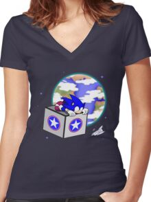 Hedgehogs in Space Women's Fitted V-Neck T-Shirt