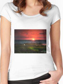 Seagull on Sunset - Sorrento - Mornington Peninsula Women's Fitted Scoop T-Shirt
