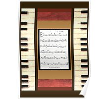Piano keys with sheet music by Kristie Hubler Poster