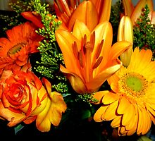 GORGEOUS ORANGE AND YELLOW FLOWERS - Rose-Lilies,Gerberas - Photography by RubaiDesign