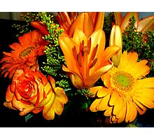 GORGEOUS ORANGE AND YELLOW FLOWERS - Rose-Lilies,Gerberas - Photography Photographic Print