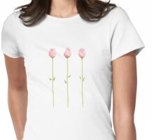 3 Pink Rosebuds T-shirt Womens Fitted T-Shirt