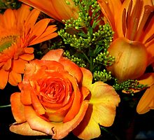 ENCHANTED ORANGE FLOWERS - ROSE-LILIES-GERBERA - Photography by RubaiDesign