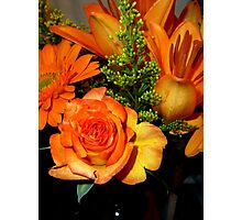 ENCHANTED ORANGE FLOWERS - ROSE-LILIES-GERBERA - Photography Photographic Print