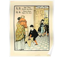 The Buckle My Shoe Picture Book by Walter Crane 1910 16 - One Two Buckle my Shoe Three Four Open The Door Poster