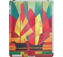 Happy Father's Day Cubist Abstract of Junk Sails and Ocean Skies iPad Case/Skin