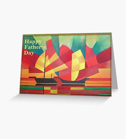 Happy Father's Day Cubist Abstract of Junk Sails and Ocean Skies Greeting Card