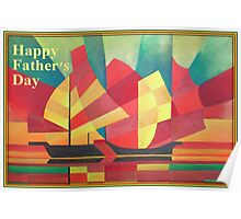Happy Father's Day Cubist Abstract of Junk Sails and Ocean Skies Poster