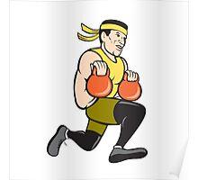 Crossfit Runner With Kettlebell Cartoon Poster