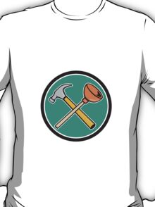 Crossed Hammer Plunger Circle Cartoon T-Shirt