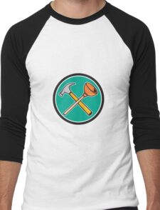 Crossed Hammer Plunger Circle Cartoon Men's Baseball ¾ T-Shirt