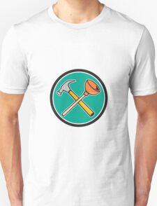 Crossed Hammer Plunger Circle Cartoon T-Shirt