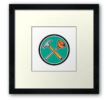 Crossed Hammer Plunger Circle Cartoon Framed Print